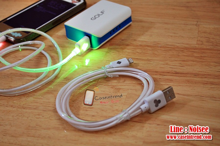 สายชาร์จ iPhone5/5s มีไฟทั้งเส้น เปลี่ยนสีได้