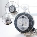 นาฬิกาพกตัวเรือนสีเงิน-ดำ ประดับคริสมุกตัสอักษรย่อ ดีไซต์ Lux Royal Lace (สั่งทำ)