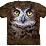 เสื้อยืด3Dสุดแนว(GREAT HORNED OWL HEAD T-SHIRT)