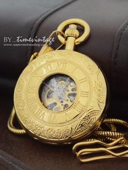 นาฬิกาพกกลไกไขลานพรีเมียมเปิดสองด้านสีทองฝาหน้าโรมันตัวเรือนทองแดง