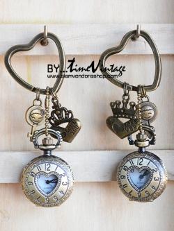 """พวงกุญแจนาฬิกาวินเทจคอลเลคชั่นคู่รัก """"Forever Love"""" เซทคู่"""
