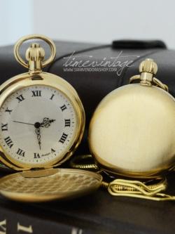 นาฬิกาพกพรีเมี่ยมสีทองเปิด2ด้านพื้นเรียบหน้า-หลังเครื่องถ่านควอทซ์ญี่ปุ่น