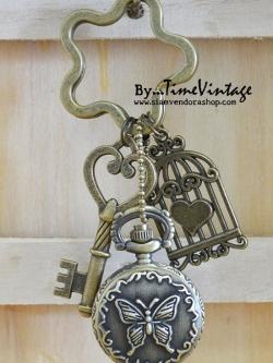 """นาฬิกาพวงกุญแจเก๋ๆสไตล์วินเทจดีไซด์""""Butterfly LOVE CAGE""""-Lovely key chain watch in Butterfly love cage style"""