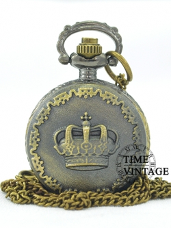 สร้อยคอนาฬิกาล็อคเก็ตวินเทจใส่รูปใต้ฝาสุดเก๋ ลาย MINI Royal Crown