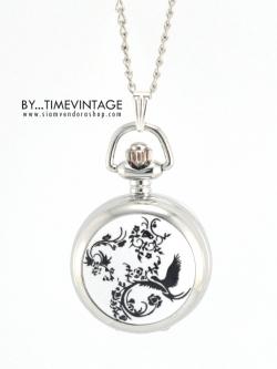 นาฬิกาสร้อยคอ ขนาดเล็ก ตัวเรือนสีเงินเงา ลายนกเถาวัลย์ดำ ระบบถ่านควอทซ์ญี่ปุ่น