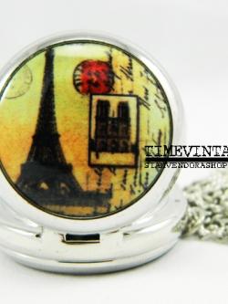 **พร้อมส่ง**นาฬิกาพกแบบสร้อยคล้องคอ Eiffel Tower-F