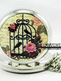 นาฬิกาพสร้อยคอจี้ทรงกลมสีเงินเงา Bird House-G พร้อมติดรูป