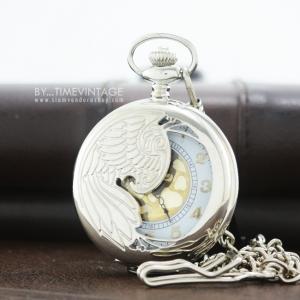 นาฬิกาพกควอทซ์ฝาฉลุลายนกอินทรีย์มงคลครึ่งฝาระบบถ่านควอทซ์