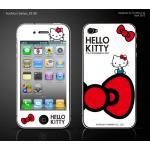 ฟิล์มกันรอย iPhone4/4s ลายการ์ตูนหน้าหลัง - ลาย Kitty โบว์