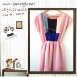 Dress063-เดรสแฟชั่น เดรสผ้าชีฟองสีชมพู จั้มเอว ด้านบนลายผ้าต่อ กระโปรงมีซับ อก 36 ((เดรสแฟชั้นพร้อมส่ง))