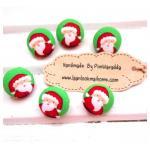 กระดุมปั๊มแฮนด์เมดลายซานต้า~แพค 6เม็ดค่ะ