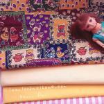 ผ้าคอตตอนสั่งงจากอเมริกาขนาด 22.5 x 27.5cm +ผ้าพื้นในไทยสีเเหลือง 2 โทน ขนาด25x27.5 cm