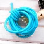 ยางยืดแบบกลมสีฟ้า. ขนาด 0.3 cm ราคาขายต่อ 1 หลา
