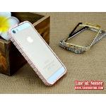 เคส iPhone SE - เคสเพชร BVLGARI สี Pink Gold