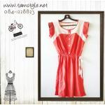Dress019-เดรสแฟชั่น- เดรสเดรสคอกลม แขนสั้นผ้าคัตตอนเนื้อดี จ้ำเอว แต่งสีขาวด้านบน รอบอก 32-36 นิ้ว สีส้ม ((พร้อมส่ง))