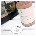 LCB1: เชือกหนังแบน กว้าง 3 mm หนา 2 mm ราคาต่อ 1 หลา - โทนสีครีม