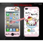 ฟิล์มกันรอย iPhone4/4s ลายการ์ตูนหน้าหลัง - ลาย kitty
