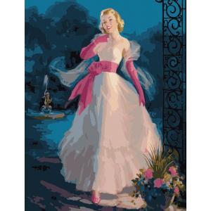 "MMC051 ภาพระบายสีตามตัวเลข ""สาวน้อยในชุดราตรีขาว"""