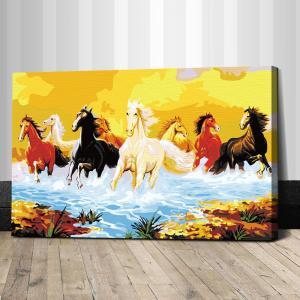 "TJ005 ภาพระบายสีตามตัวเลข ""ม้าแปดตัวนำโชคลาภ"""