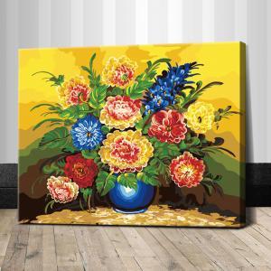 "TG157 ภาพระบายสีตามตัวเลข ""แจกันดอกไม้ในห้องเหลือง"""