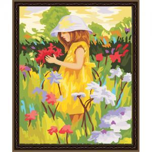 """MG022 ภาพระบายสีตามตัวเลข """"สาวน้อยกลางทุ่งดอกไม้"""""""