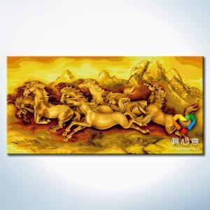 "TLJ001 ภาพระบายสีตามตัวเลขชุดพิเศษสีประกายทอง ""แปดม้าทองคำ"""