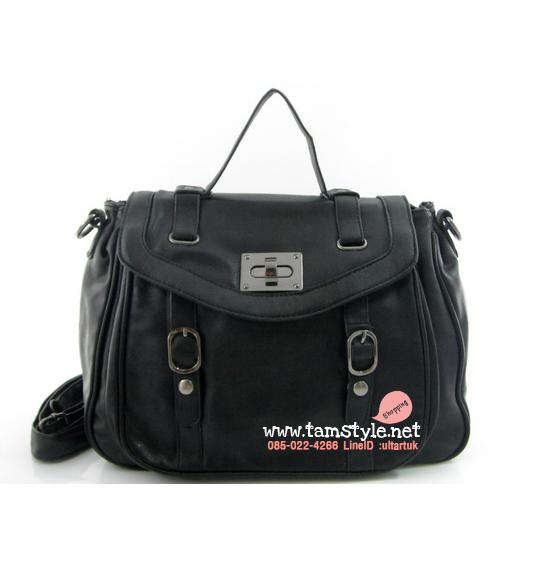 Bag-DB-9426-BK กระเป๋าถือและสะพายหนัง PU อะไหล่รมดำเกรด A charles & keith design สีดำ (กระเป๋าแฟชั่นราคาถูกพร้อมส่ง)