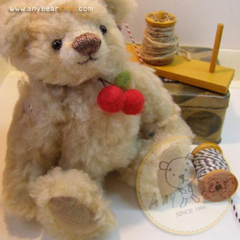 ตุ๊กตาหมีผ้าขน wool สีน้ำตาลอ่อนขนาด 19 cm. - Lilac (ผ้าจากประเทศเยอรมัน)