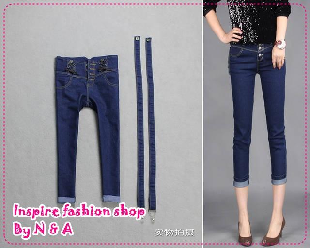 กางเกงยีนส์สีส่วนเข้ารูป Slim legs of the 2012 new Korean version fashion flange removable overalls seven jeans