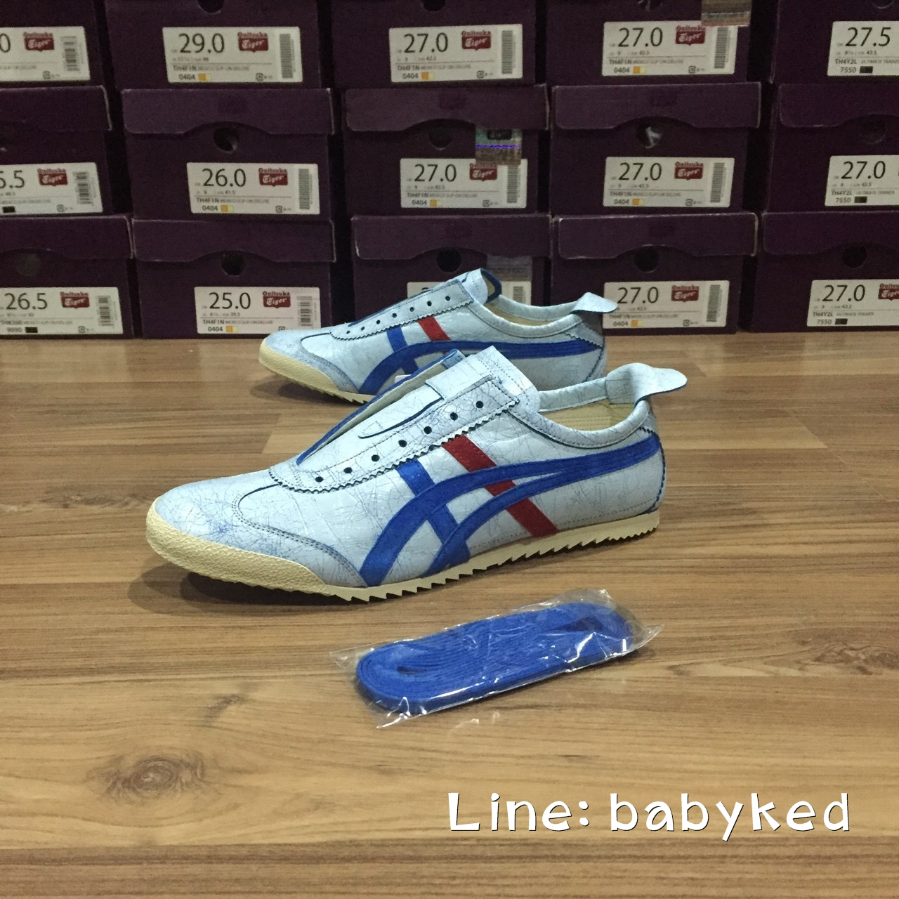 Limited Edition Nippon Made Deluxe [Made in Japan] Mexico 66 Slip-on หนังแตก (White/Blue) ของแท้100% ของใหม่มีกล่องป้ายครบ 10,400 บาท