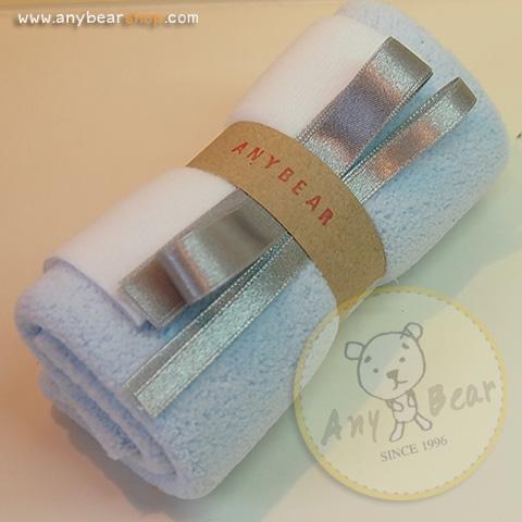 เซตผ้าขนขอดสำหรับเย็บตุ๊กตาหมี - โทนสีฟ้า light blue