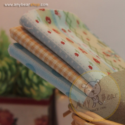เซตผ้าฝ้ายโทนสีฟ้าอ่อน (1/8 หลา ) 3 ชิ้น
