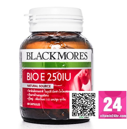 Blackmores Bio E 250 mg. แบลคมอร์ส ไบโอ อี 250 มก. บรรจุ 60 แคปซูล Blackmores Bio E 250 mg. แบลคมอร์ส ไบโอ อี บรรจุ 60 แคปซูล เป็นวิตามินอีที่ได้จากธรรมชาติ มีฤทธิ์ต้านสารอนุมูลอิสระที่มีประสิทธิภาพสูง (powerful antio