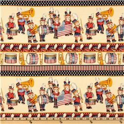 Yankee Doodle Bear Stars & Stripes Border Cream