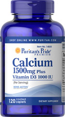 Puritan's Pride - Calcium 1500 mg with Vitamin D 1000 IU 120 Tablets
