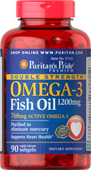Puritan's Pride - Double Strength Omega-3 Fish Oil 1200 mg 90 Softgels