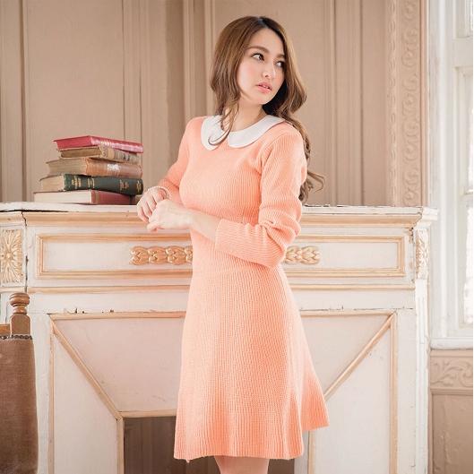 [Preorder] เดรสนิตติ้งแฟชั่นแขนยาวกระโปรงบาน สีชมพู Pure wool knit dress waist umbrella swing