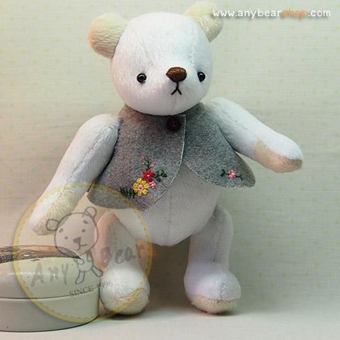 ตุ๊กตาหมีผ้าขนสั้นสีขาวขนาด 20 cm. - PomPom(size S)