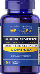 Puritan's Pride - Super Snooze with Melatonin Complex 100 Capsules