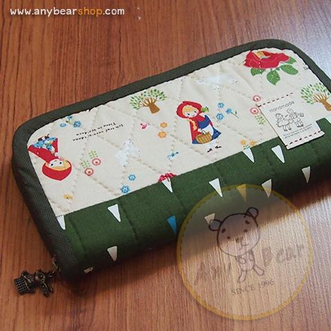 กระเป๋าสตางค์ใบยาวงานควิลท์-ผ้าคอตตอนญี่ปุ่น+คอตตอนไทย(ด้านใน)