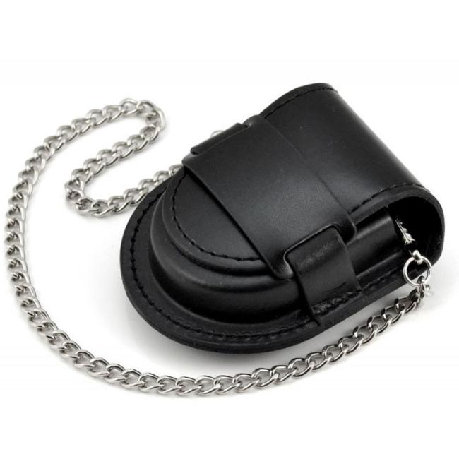กระเปาหนังใส่นาฬิกาพกสีดำสำหรับ ขนาด 4.5cm.-4.5cm.