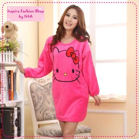 [Preorder] ชุดนอนเดรสกระโปรงแขนยาวแฟชั่น Hello Kitty สีดอกกุหลาบ Ms. autumn and winter coral fleece pajamas nightgown new cute hello kitty thick tracksuit สำเนา