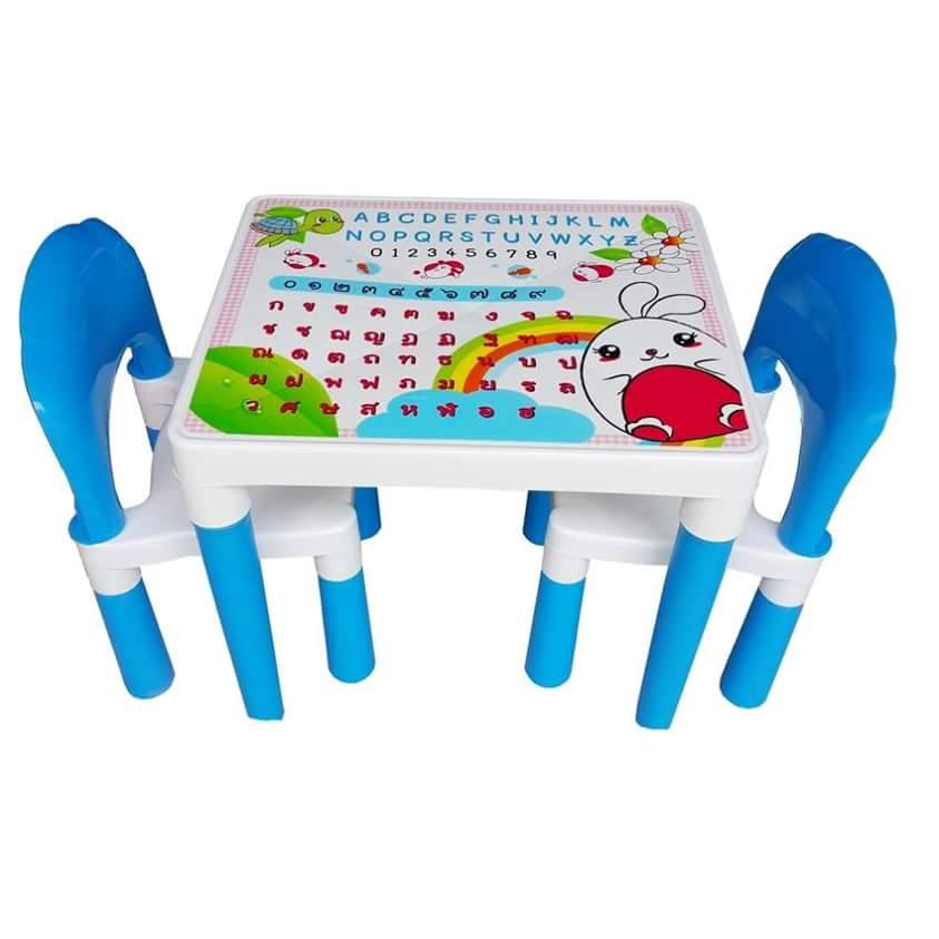 สีฟ้า นัInter Steel ชุดโต๊ะและเก้าอี้ เตรียมอนุบาล โต๊ะ ก-ฮ 1 ตัว + เก้าอี้ 2 ตัว ชุดโต๊ะเขียนหนังสือ/ทำกิจกรรมเด็ก ผลิตจากพลาสติกเนื้อดี แข็งแรง สามารถประกอบได้ง่าย ■ เหมาะกับการวางไว้ตามมุมต่างๆ ทั้งในบ้านและนอกบ้าน