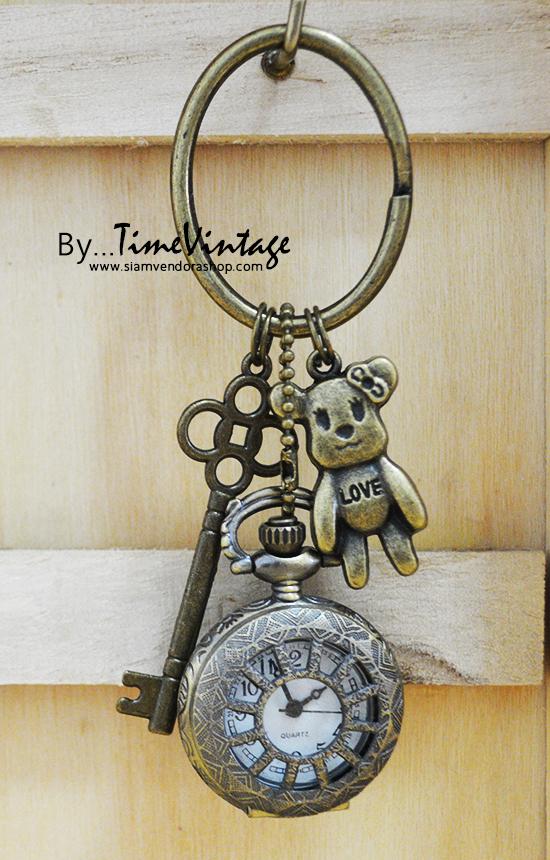 พวงกุญแจนาฬิกาพกลาย LOVE Teddy BEAR หมีน้อย