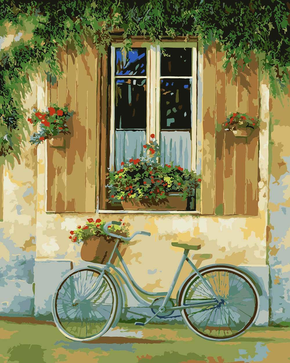 """MQ051 ภาพระบายสีตามตัวเลข """"จักรยานข้างบ้าน"""""""