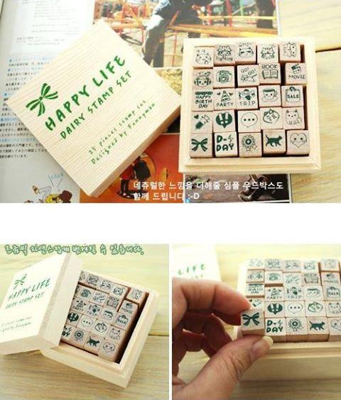 ชุดปั๊มแมวๆกล่องไม้ HAPPY LIFE Diary Stamp Set