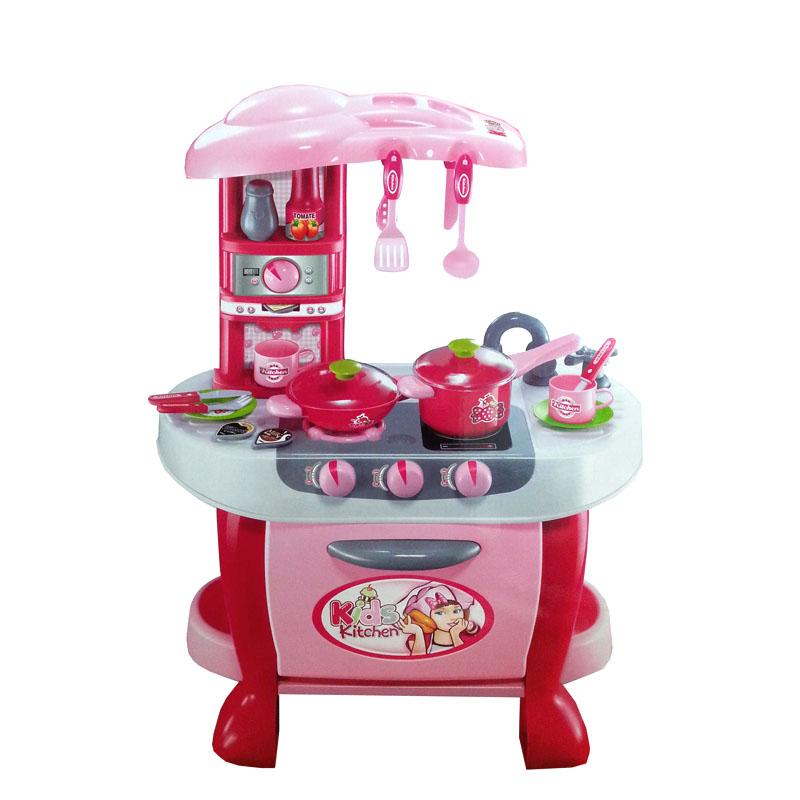 ชุดครัวจัมโบ้เตาแก็สและเตาอบพร้อมอุปกรณ์ทำครัว 31 ชิ้น สีชมพู