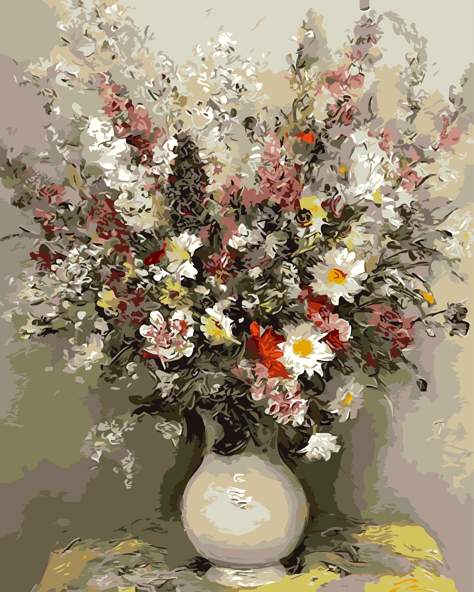 "MG762 ภาพระบายสีตามตัวเลข ""ดอกไม้หลากสีในแจกันขาว"""