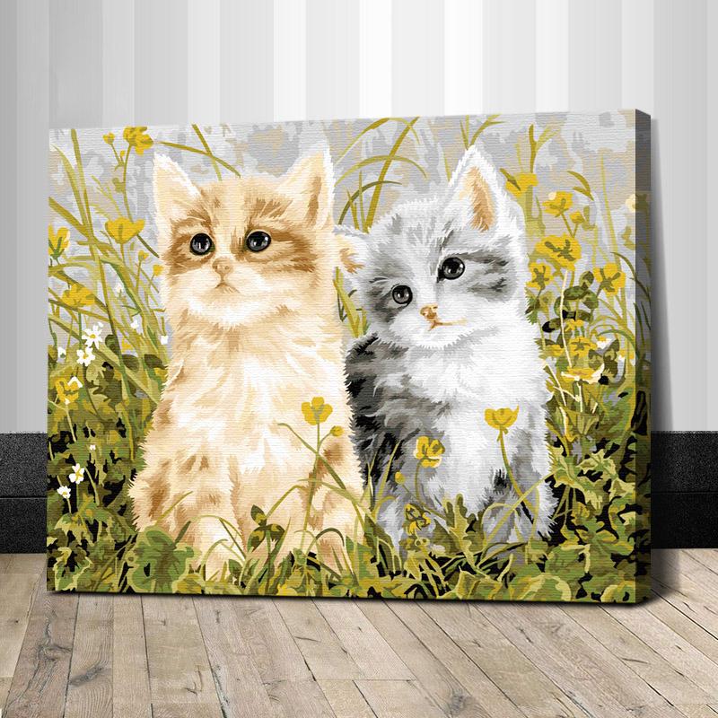 """TG209 ภาพระบายสีตามตัวเลข """"สองแมวน้อยเหลืองเทา"""""""