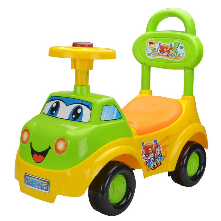 รถขาไถผลักเดิน หน้ารถบรรทุก สีเหลืองเขียว